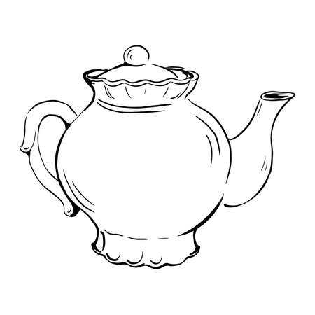 Vector sketch of teapot, outline