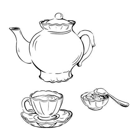 set vector sketch of tea set with cup, saucer, teapot and jam