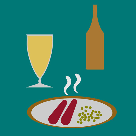 specialities: Plate with sausages and beans. Glass and bottle with drink. Classic retro meal.
