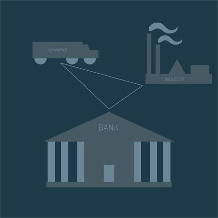 environnement entreprise: Banque, industrie et commerce entreprise triangle. Icone plat. Trois �l�ments importants de l'environnement des affaires. Illustration