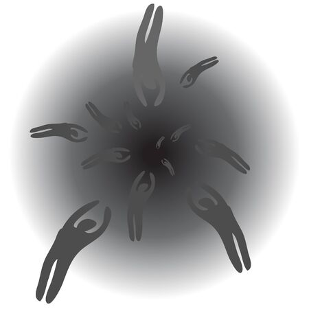 white matter: Dark silhouettes are drifting into black point.  Concept vision of another world.