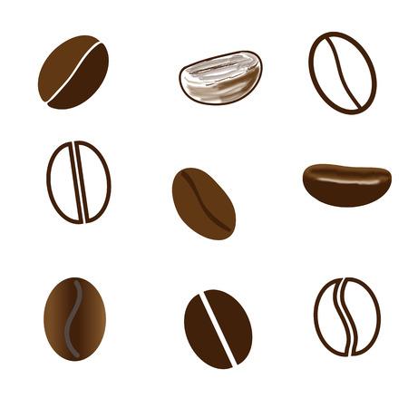 chicchi di caff�: Chicchi di caff� disegnati in stili diversi su sfondo bianco. Mesh. Vettoriali