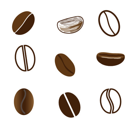 Coffee beans drawn in different styles on white background. Mesh.