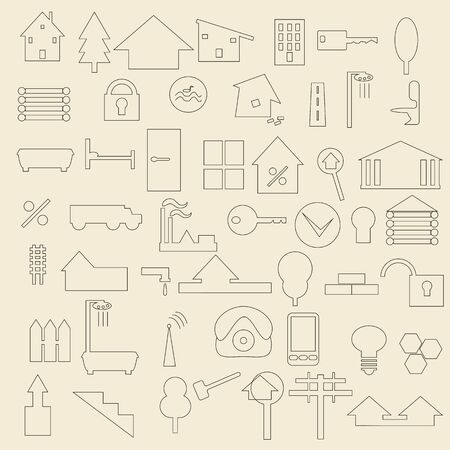 townhomes: Set of line icons concerning real estate and construction items.