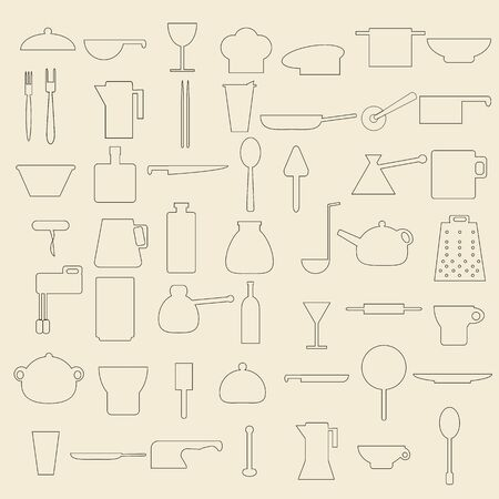 Set of 50 line icons concerning cooking and kitchen items.
