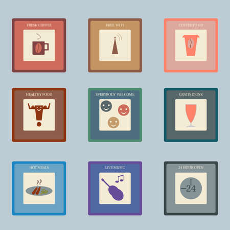 cafe bistro: Nine icons for food and beverage industry in retro style. Perfect for cafe, bistro, bar. Illustration