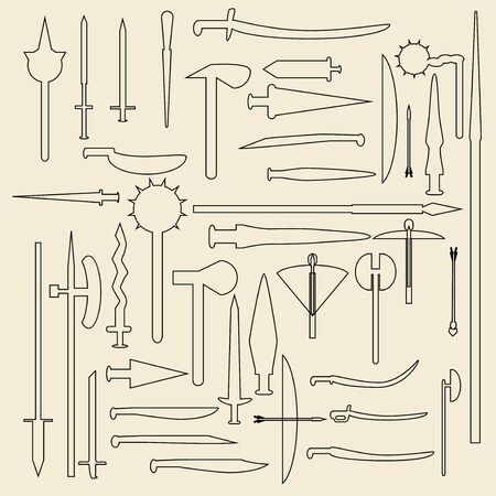 weaponry: Medieval weaponry  linear icons illustration. Illustration