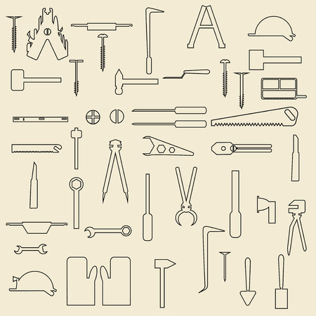 large group of items: Construction tools linear icons  illustration. Perfect for web design.