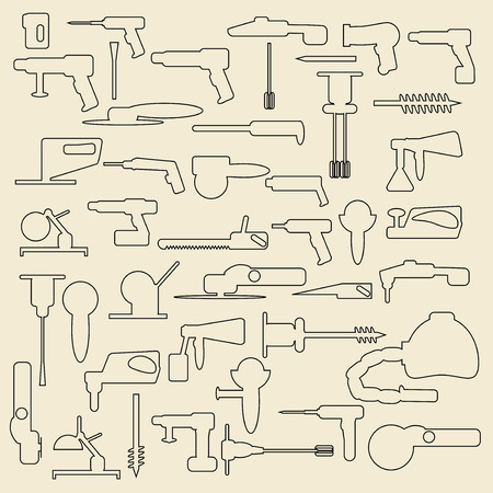 Electric construction tools linear icons  illustration. Vector