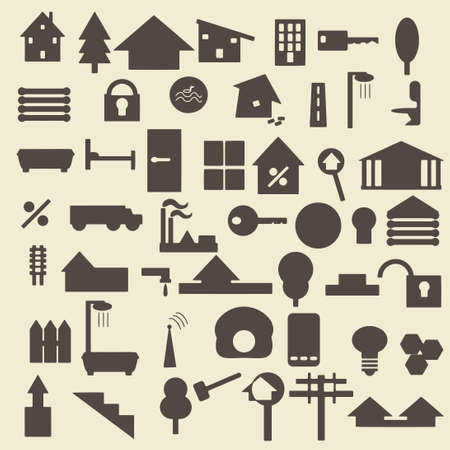 log wall: Real estate items silhouette icons set. Perfect for web design editable vector illustration.