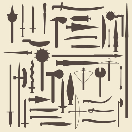 halberd: Medieval weaponry silhouette icons set. Perfect for web design editable vector illustration.