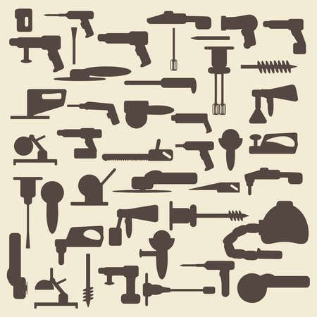 Electric construction tools silhouette icons set. Vector