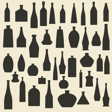 Different bottle types silhouette icons set.
