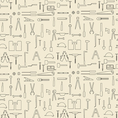 Construction tools  linear set seamless texture. Vector