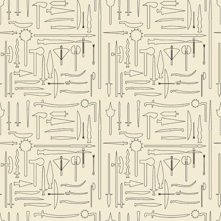 Medieval weaponry linear set seamless texture.  Illustration