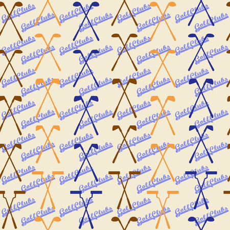 wedge: Golf sport  seamless texture in vintage style.  Driver, wood, iron, wedge, putter golf clubs and club heads. Editable and  design suitable. Illustration