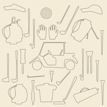wedge: Golf sport items linear icon set.  Driver, wood, iron, wedge, putter golf clubs and cart . Tee, ball and glove.  Editable and web design suitable.