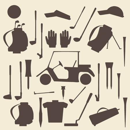 wedge: Golf sport items silhouette icon set.  Driver, wood, iron, wedge, putter golf clubs and cart . Tee, ball and glove.  Editable and  design suitable.