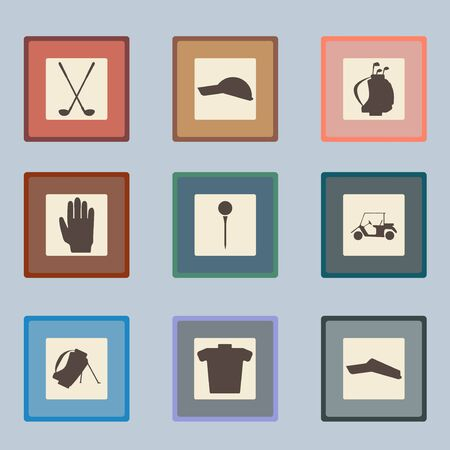 golf glove: Golf sport items silhouette icon set.  Driver, wood, iron, wedge, putter golf clubs and cart . Tee, ball and glove.  Editable and  design suitable.