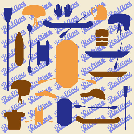 paddles: Rafting sport items silhouette icon set. Oar and paddle rafts. Cataraft and inflatable kayak. Paddles and helmets. Whitewater rafting.  Editable and design suitable.