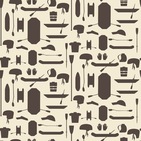 paddles: Rafting sport items silhouette icon set seamless texture. Oar and paddle rafts. Cataraft and inflatable kayak.  Paddles and helmets. Whitewater rafting.  Editable and design suitable. Illustration