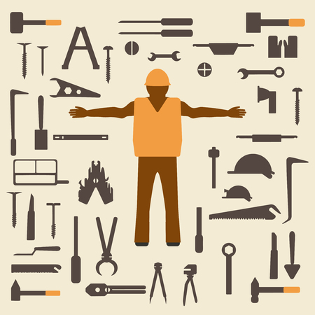 worker silhouette: Construction tools and worker silhouette icons set.  Design suitable and editable vector illustration. Illustration