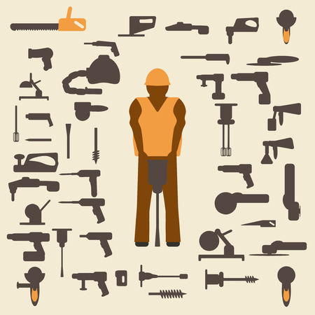 angle grinder: Construction tools and worker silhouette icons set.  Design suitable and editable vector illustration. Illustration
