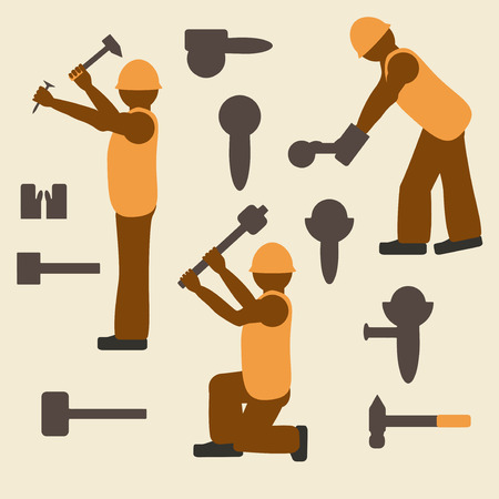 laborer: Construction tools and worker silhouette icons set. Laborer in different operations.  Design suitable and editable vector illustration.