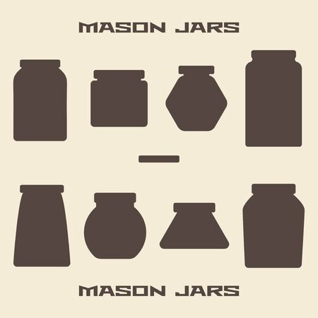 jar: Mason jars  silhouette icons set. Design suitable and editable vector illustration.