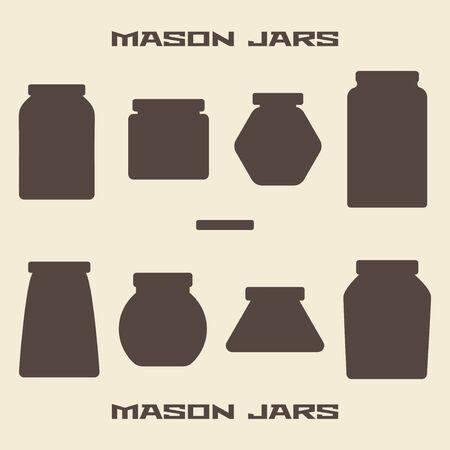 glass jar: Mason jars  silhouette icons set. Design suitable and editable vector illustration.