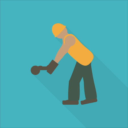 laborer: Construction worker flat icon. Editable and design suitable vector illustration.