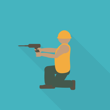 Construction worker flat icon. Editable and design suitable vector illustration.