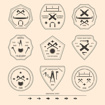 craftsmen: Logotype fissato per edilizia e carpenteria industrie. Elementi di design di oggetti e strumenti. Logo per i costruttori di registro naturale e artigiani del legno. Illustrazione vettoriale. Font gratuiti utilizzati.