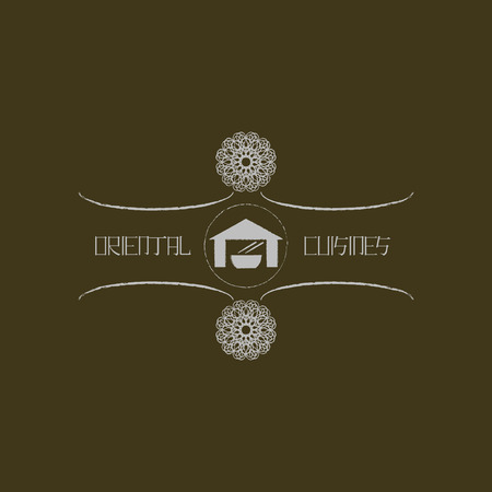 Logo template for oriental cuisine business. Ethnic  design logotype for restaurant and cafe. Japanese, chinese, thai and other eastern ornament. Asian traditional symbol.