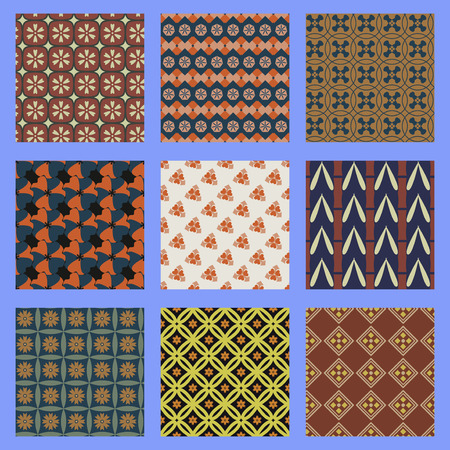 eastern culture: Oriental seamless pattern set. Japanese chinese and other eastern culture ornament endless texture. Asian  seamless background. Ethnic tribal design motif.