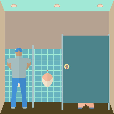 urinate: Toilet interior illustration.  Illustration