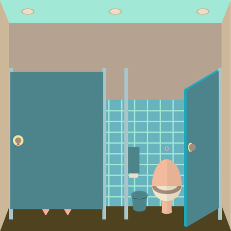 poo: Toilet interior illustration.