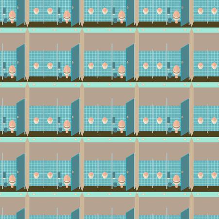 gent: Toilet interior illustration seamless pattern.