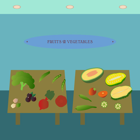 department store: Fruit and vegetable showcase flat icon. Supermarket section advertising design template. Department store interior view. Part of shopping mall inside vector illustration. Illustration