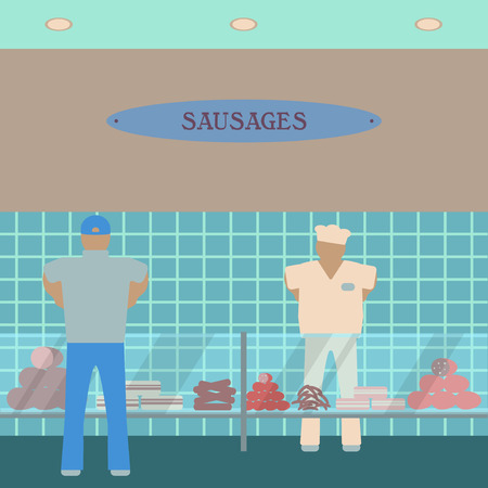 department store: Sausage showcase flat icon. Supermarket glass case design template.  Department store interior view. Part of shopping mall inside. Customer and seller.