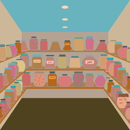 confiture: Mason jars in a cellar. Flat design style vector illustration.
