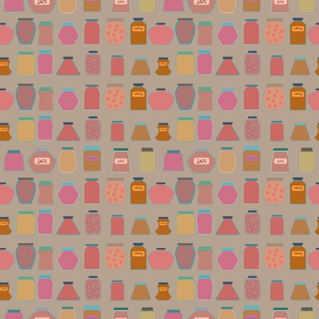 confiture: Mason jars seamless pattern. Flat design style vector illustration. Illustration