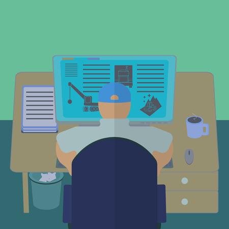 concepteur web: Employ� de bureau � son bureau de l'ordinateur. Section de la chambre de travail de vue de l'int�rieur. Ing�nieur IT et web designer lieu de travail. Design plat template illustration.