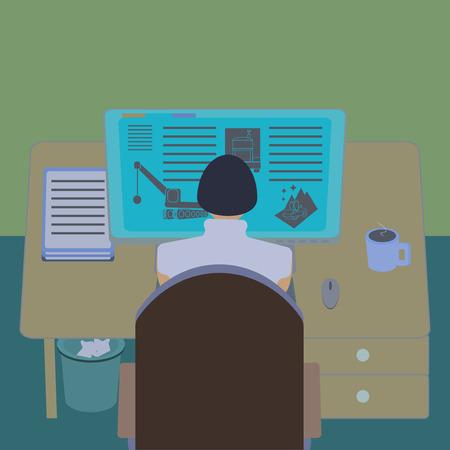 concepteur web: Femme employ� de bureau � son bureau de l'ordinateur. Section de la chambre de travail de vue de l'int�rieur. Ing�nieur IT et web designer lieu de travail. Design plat template illustration. Illustration
