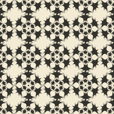 editable eastern asia: Geometric ornament seamless pattern.  Monochrome design template seamless background. Round, polygonal and grunge motif endless texture. Editable and color ready.