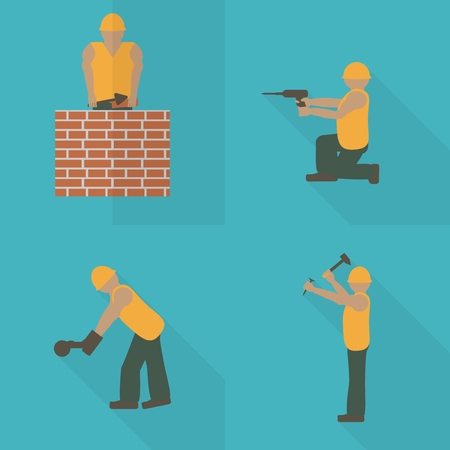 Construction worker flat icon. Design template vector illustration. Mason with trowel. Laborer with hammer. Builder with angle grinder.