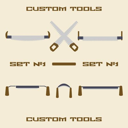 trump: Construction tool silhouette icon set. Two handed and trump saw. Hand saw. Panel saw. Scraper. Spokeshave. Design template vector illustration. Illustration