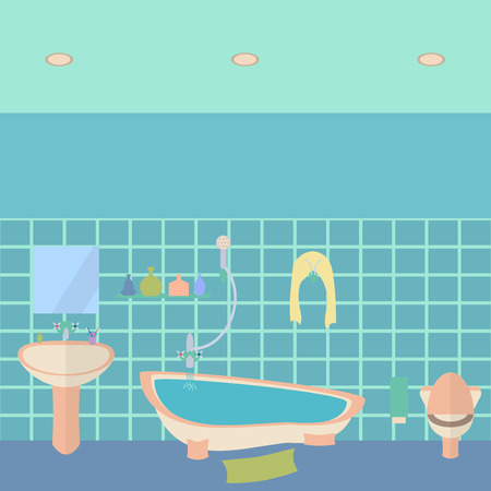 flush toilet: Bathroom interior vector illustration. Flat style design template. Illustration