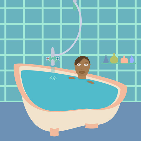 female in douche: African american woman in bath. Black lady in bathroom.  Flat style design template vector illustration.