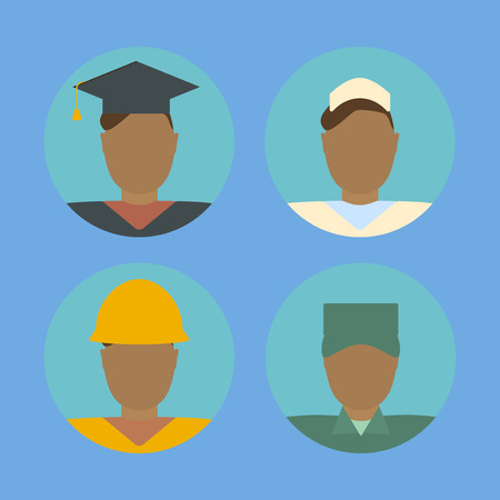 undergraduate: Male and female avatar faces. Construction worker and soldier. Nurse and graduate student. Flat style  design template vector illustration. Illustration